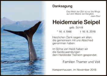 Traueranzeige von Heidemarie Seipel von Hersfeld