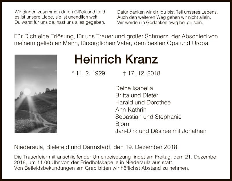 Traueranzeige für Heinrich Kranz vom 19.12.2018 aus Hersfeld