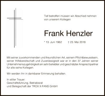 Traueranzeige für Frank Henzler vom 06.06.2018 aus Hersfeld