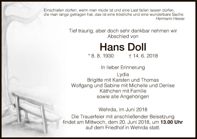 Traueranzeige für Hans Doll vom 18.06.2018 aus Hersfeld