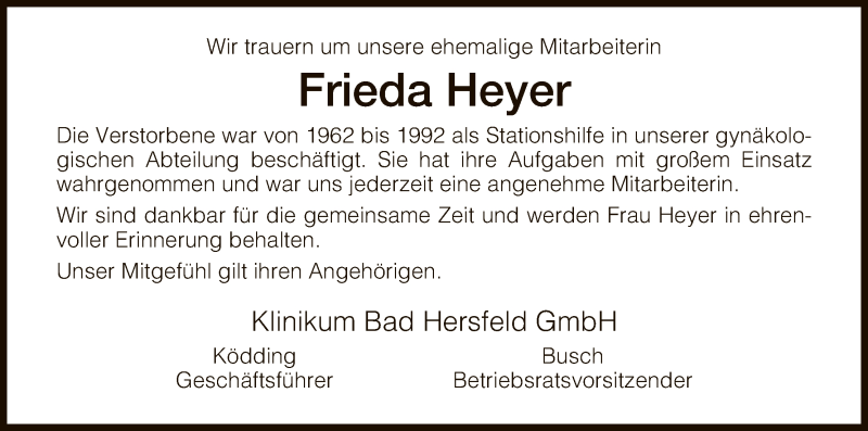 Anzeige von  Frieda Heyer
