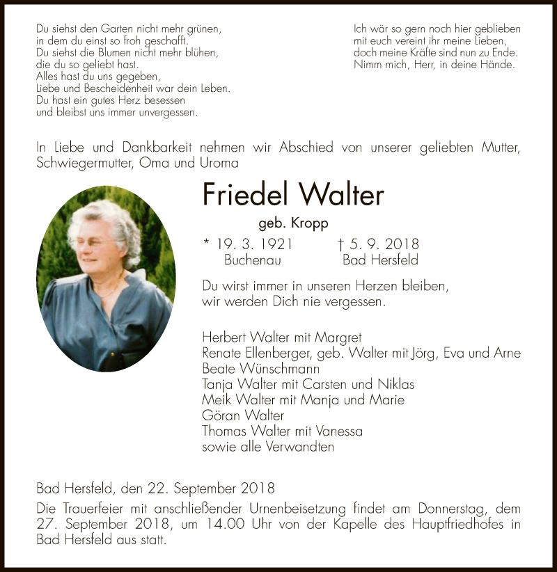 Traueranzeige für Friedel Walter vom 22.09.2018 aus Hersfeld