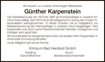 Traueranzeige für Günther Karpenstein vom 05.01.2019 aus Hersfeld