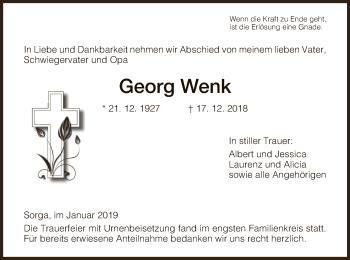Traueranzeige für Georg Wenk vom 05.01.2019 aus Hersfeld