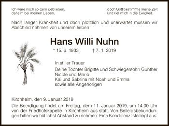Traueranzeige für Hans Willi Nuhn vom 09.01.2019 aus Hersfeld