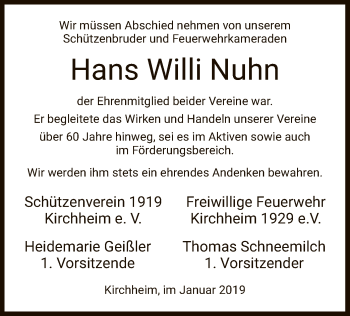 Traueranzeige für Hans Willi Nuhn vom 11.01.2019 aus Hersfeld