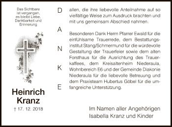 Traueranzeige für Heinrich Kranz vom 11.01.2019 aus Hersfeld