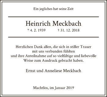 Traueranzeige für Heinrich Meckbach vom 26.01.2019 aus Hersfeld