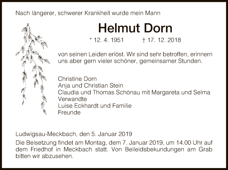 Traueranzeige für Helmut Dorn vom 05.01.2019 aus Hersfeld