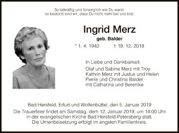 Traueranzeige für Ingrid Merz vom 05.01.2019 aus Hersfeld