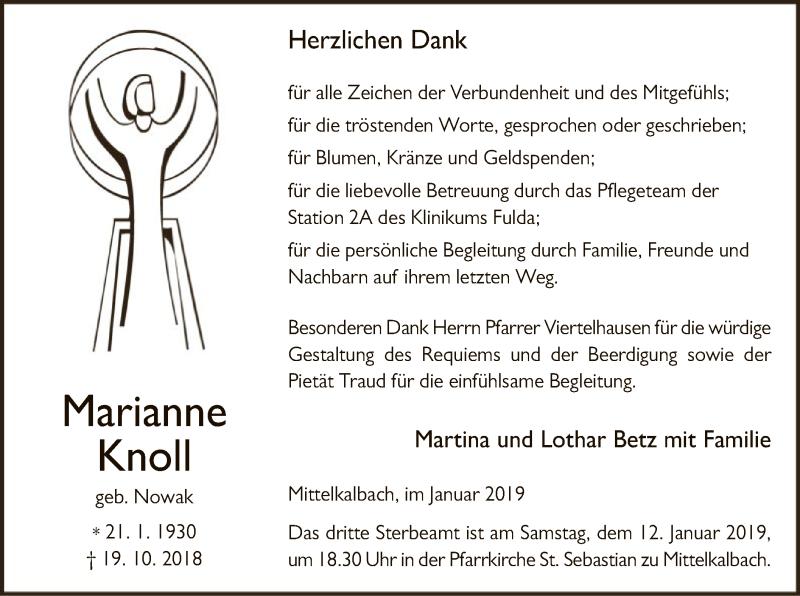 Traueranzeige für Marianne Knoll vom 04.01.2019 aus Hersfeld