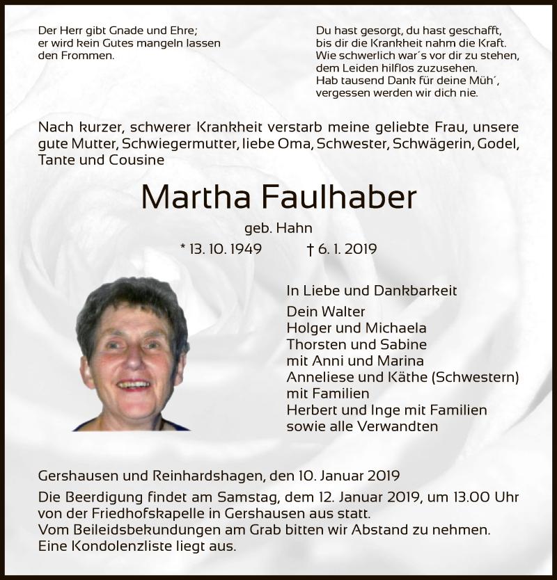 Traueranzeige für Martha Faulhaber vom 10.01.2019 aus Hersfeld