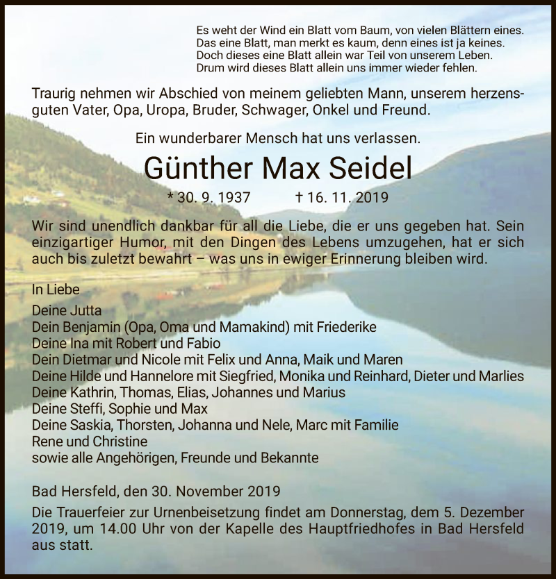 Traueranzeige für Günther Max Seidel vom 30.11.2019 aus Hersfeld
