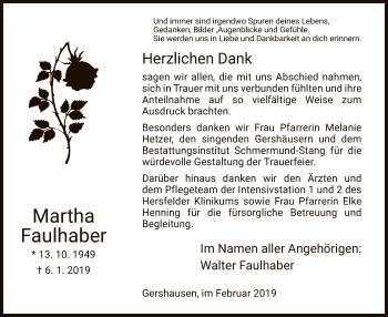 Traueranzeige für Martha Faulhaber vom 09.02.2019 aus Hersfeld