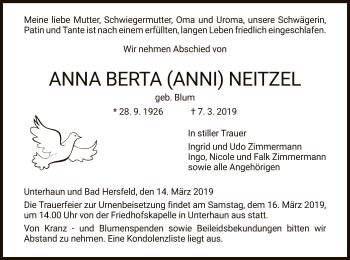 Traueranzeige für Anna Berta vom 14.03.2019 aus Hersfeld