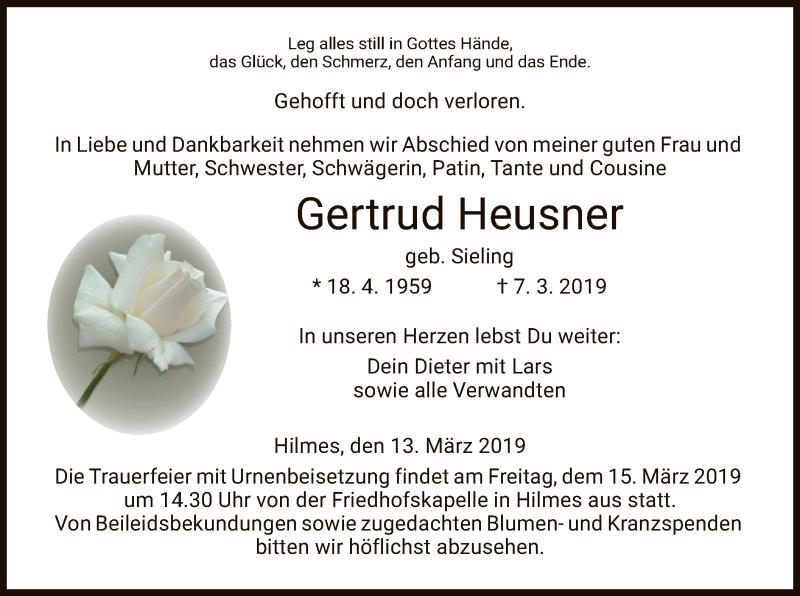Traueranzeige für Gertrud Heusner vom 13.03.2019 aus Hersfeld