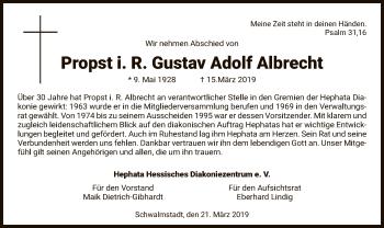 Traueranzeige für Gustav Adolf Albrecht vom 21.03.2019 aus Hersfeld