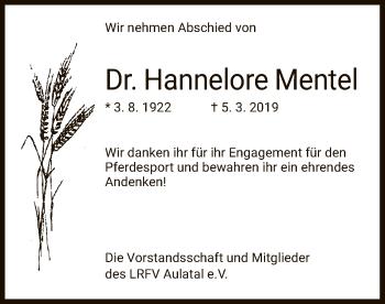 Traueranzeige für Hannelore Mentel vom 14.03.2019 aus Hersfeld