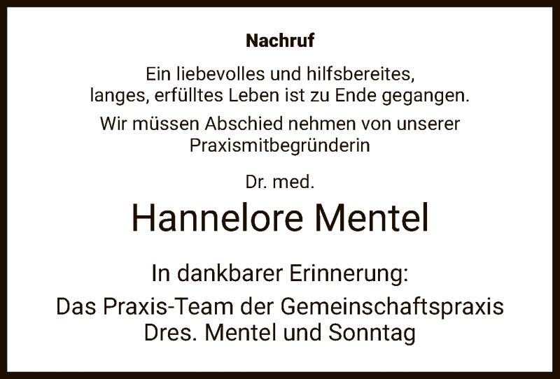 Traueranzeige für Hannelore Mentel vom 08.03.2019 aus Hersfeld