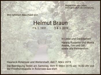 Traueranzeige für Helmut Braun vom 07.03.2019 aus Hersfeld