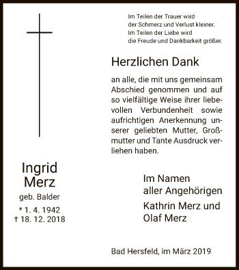 Traueranzeige für Ingrid Merz vom 30.03.2019 aus Hersfeld