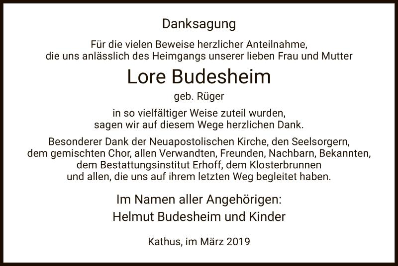Traueranzeige für Lore Budesheim vom 09.03.2019 aus Hersfeld
