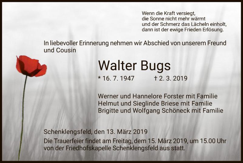 Traueranzeige für Walter Bugs vom 13.03.2019 aus Hersfeld