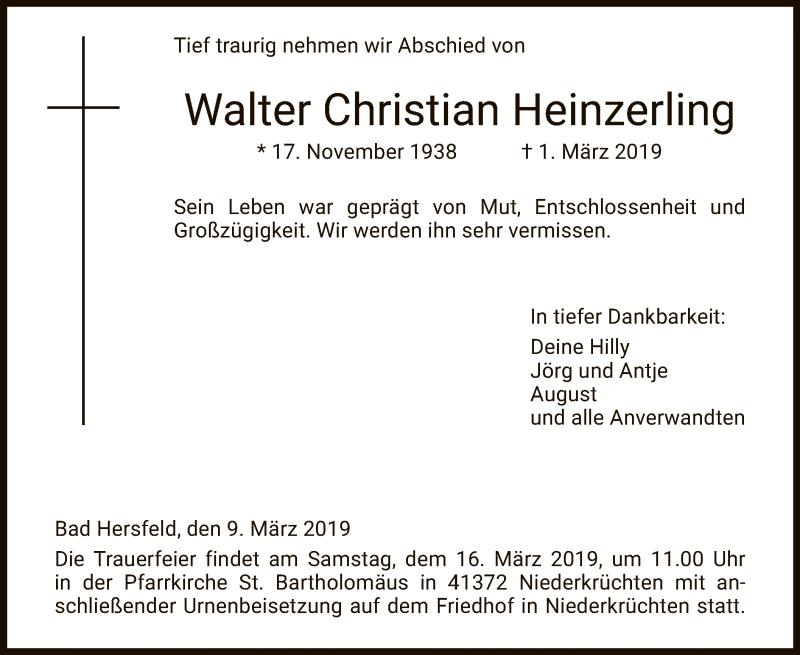 Traueranzeige für Walter Christian Heinzerling vom 09.03.2019 aus Hersfeld