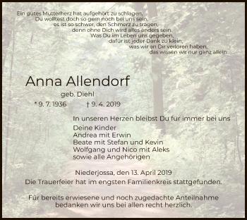 Traueranzeige für Anna Allendorf vom 13.04.2019 aus Hersfeld