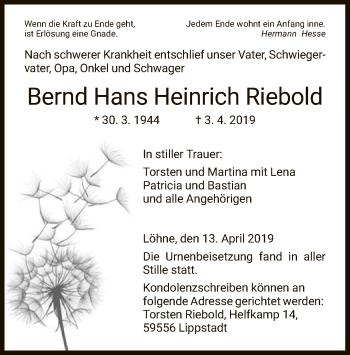 Traueranzeige für Bernd Hans Heinrich Riebold vom 13.04.2019 aus Hersfeld