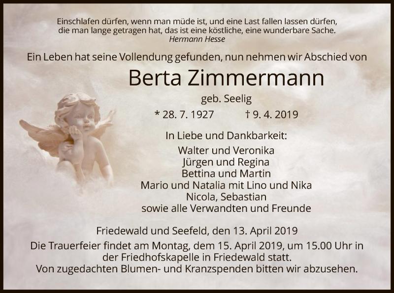 Traueranzeige für Berta Zimmermann vom 13.04.2019 aus Hersfeld