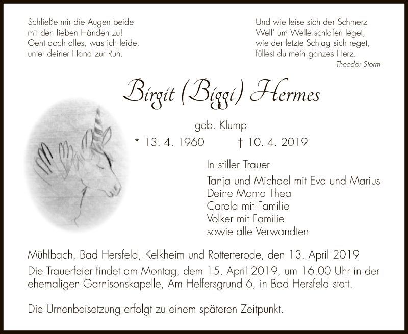 Traueranzeige für Birgit Hermes vom 13.04.2019 aus Hersfeld