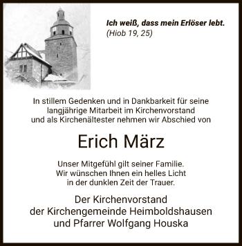 Traueranzeige für Erich März vom 15.04.2019 aus Hersfeld