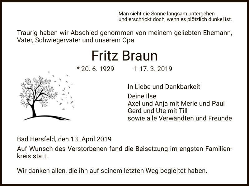 Traueranzeige für Fritz Braun vom 13.04.2019 aus Hersfeld