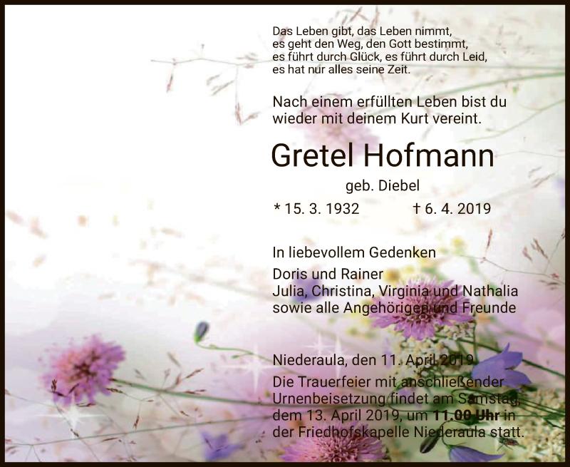 Traueranzeige für Gretel Hofmann vom 11.04.2019 aus Hersfeld