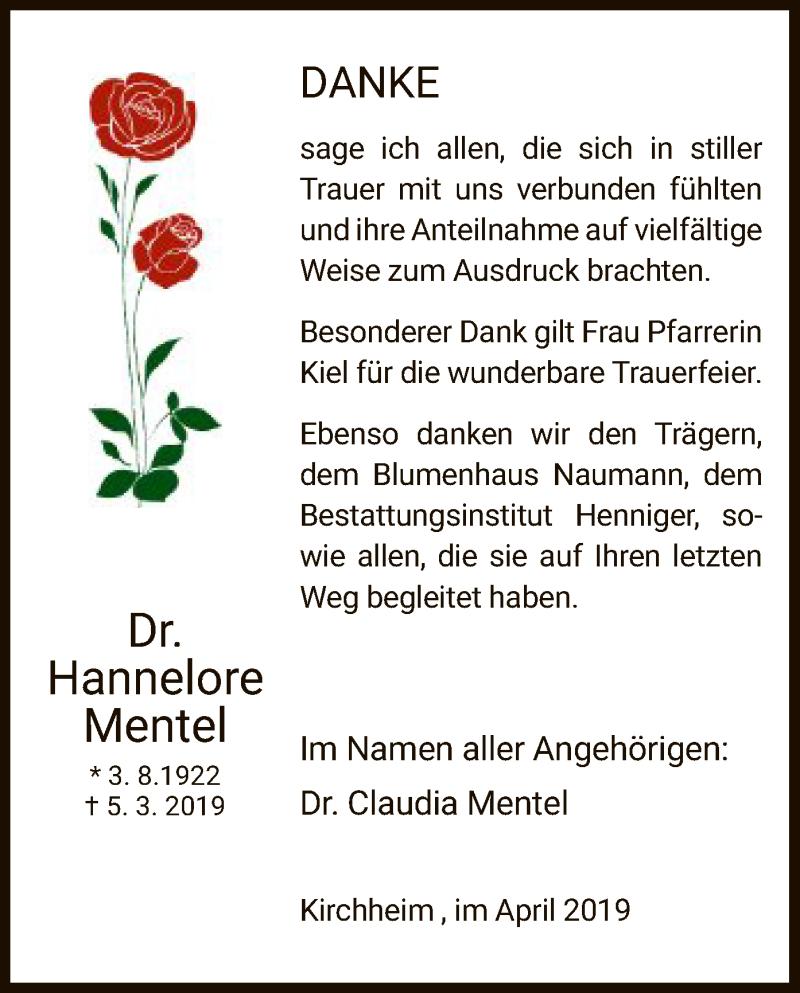 Traueranzeige für Hannelore Mentel vom 27.04.2019 aus Hersfeld
