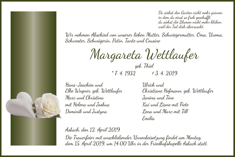 Traueranzeige für Margareta Wettlaufer vom 12.04.2019 aus Hersfeld