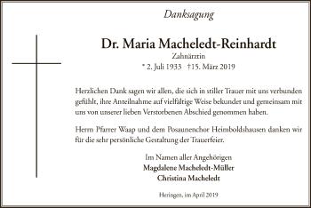 Traueranzeige für Maria Macheledt-Reinhardt vom 13.04.2019 aus Hersfeld