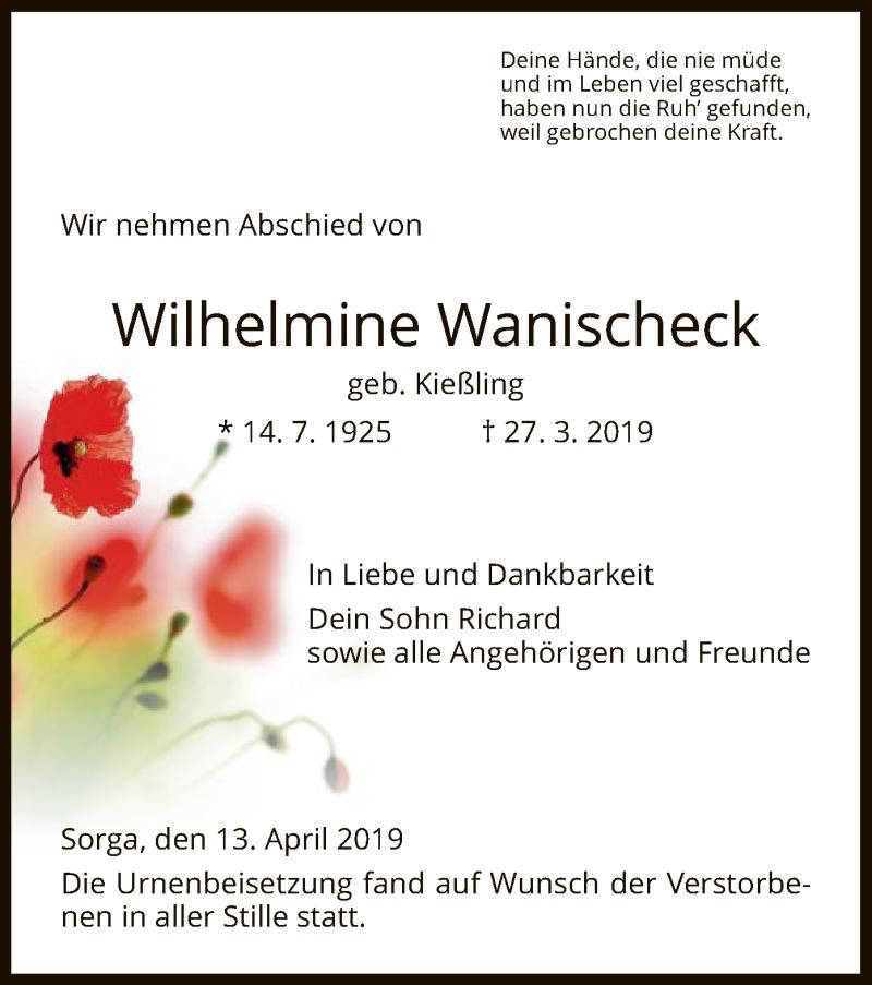 Traueranzeige für Wilhelmine Wanischeck vom 13.04.2019 aus Hersfeld