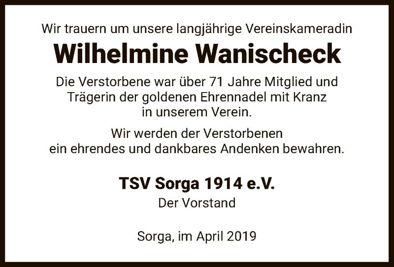 Traueranzeige für Wilhelmine Wanischeck vom 16.04.2019 aus Hersfeld