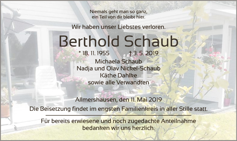 Traueranzeige für Berthold Schaub vom 11.05.2019 aus Hersfeld