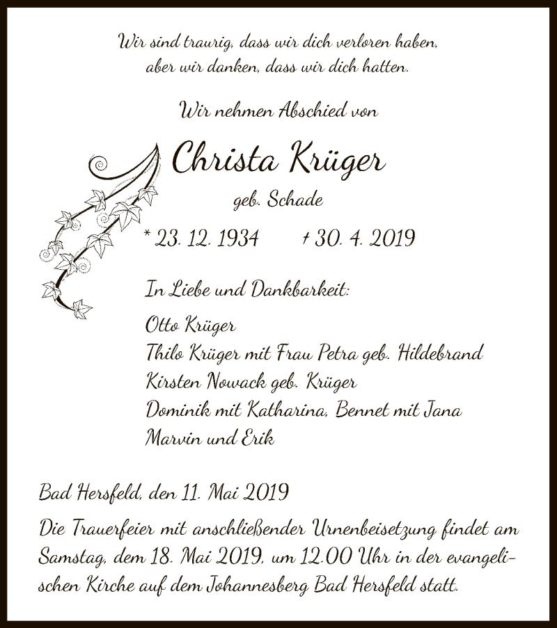 Traueranzeige für Christa Krüger vom 11.05.2019 aus Hersfeld