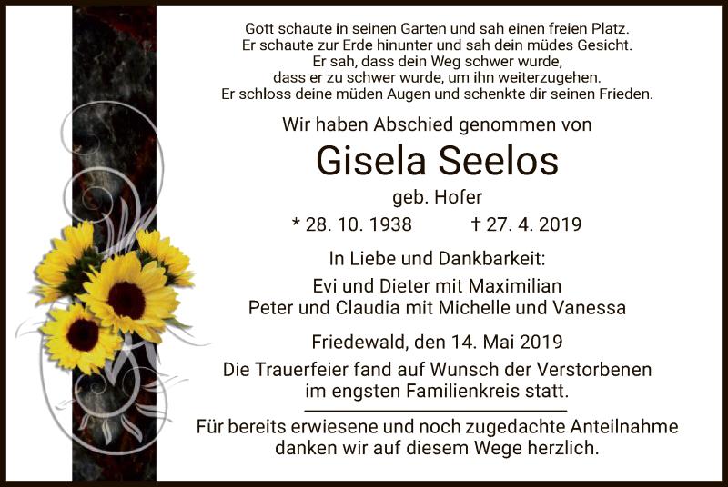 Traueranzeige für Gisela Seelos vom 14.05.2019 aus Hersfeld