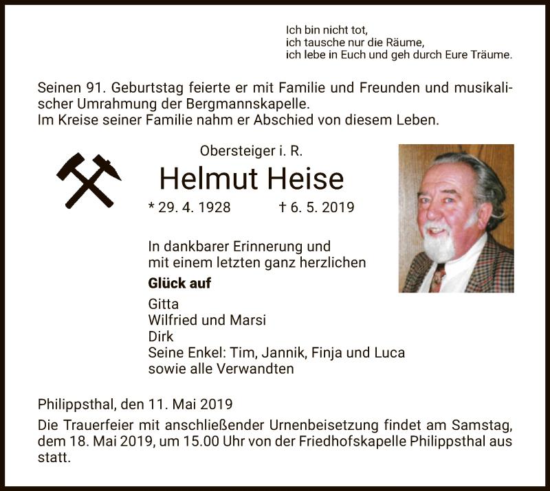 Traueranzeige für Helmut Heise vom 11.05.2019 aus Hersfeld