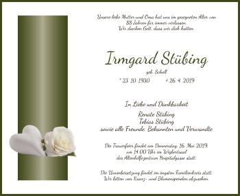 Traueranzeige für Irmgard Stübing vom 11.05.2019 aus Hersfeld