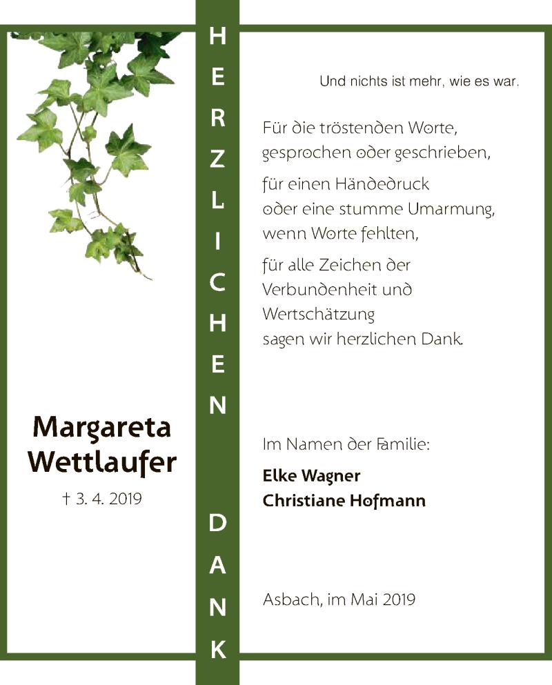 Traueranzeige für Magareta Wettlaufer vom 11.05.2019 aus Hersfeld