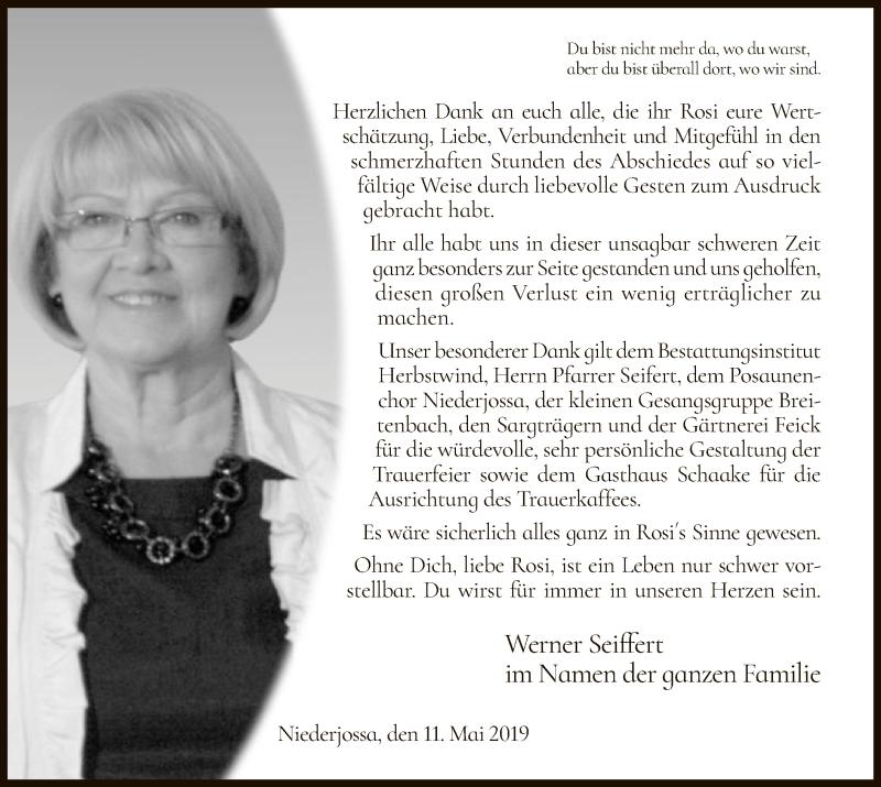 Traueranzeige für Rosi Seiffert vom 11.05.2019 aus Hersfeld