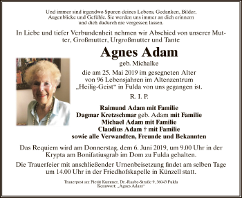 Traueranzeige für Agnes Adam vom 01.06.2019 aus Hersfeld