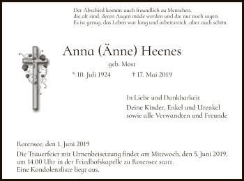 Traueranzeige für Anna  Heenes vom 01.06.2019 aus Hersfeld