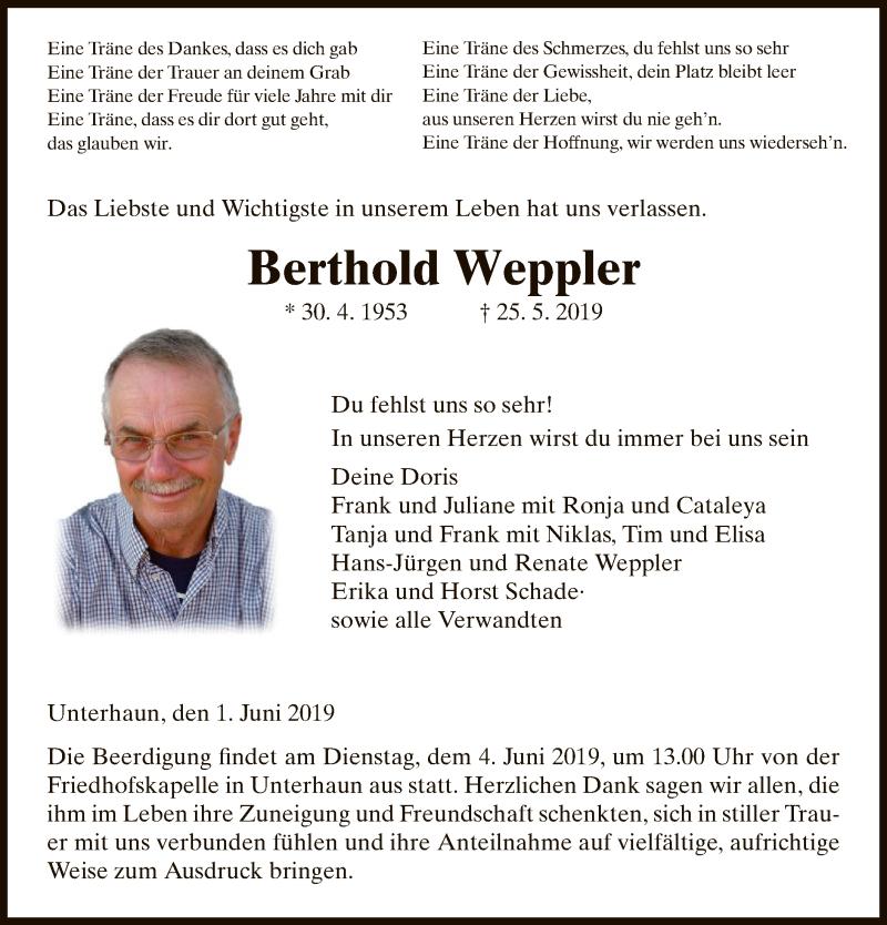 Traueranzeige für Berthold Weppler vom 01.06.2019 aus Hersfeld